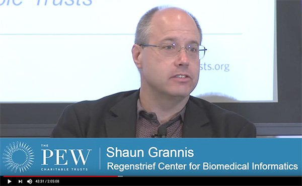 Video of Shaun Grannis, Director of Regenstrief's Center for Biomedical Informatics, speaking on a patient matching panel for The Pew Charitable Trusts