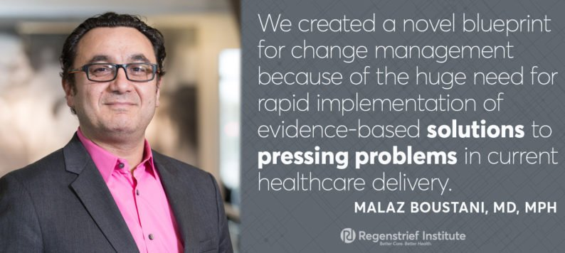 We created a novel blueprint for change management in healthcare because we see a huge need for rapid implementation of evidence-based solutions to pressing problems in current healthcare delivery.- Malaz Boustani