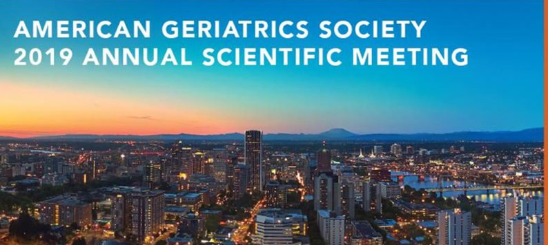 "skyline view of Portland, Oregon with words: ""American Geriatrics Society 2019 Annual Scientific Meeting"""