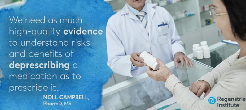 image of pharmacist selling pills with quote from Dr. Noll Campbell