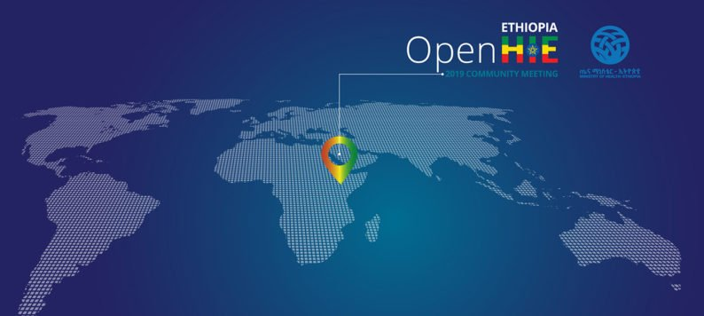 abstract global map showing location of the OpenHIE 2019 Community Meeting