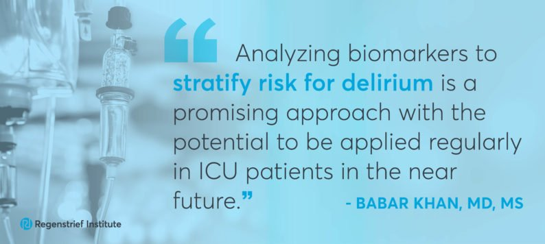 Dr. Khan quote on delirium biomarkers