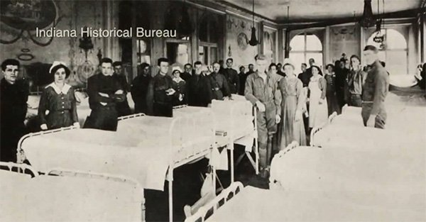 hospital ward during the 1918 Spanish influenza epidemic, courtesy of the Indiana Historical Society