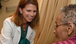 Dr. Kathleen Unroe with patient