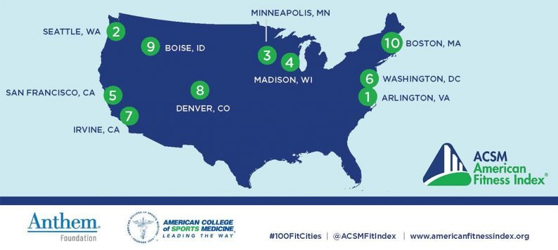 ACSM America's Fittest Cities map