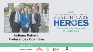 Dr. Susan Hickman and Indiana Patient Preferences Coalition IBJ Health Care Hero slide