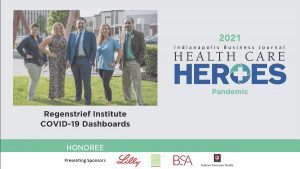 Dr. Peter Embi and web team IBJ health care heroes nomination slide
